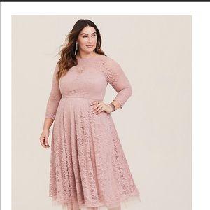 Torrid Blush Lace Midi Dress Size 18